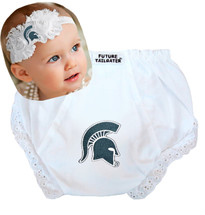 Michigan State Spartans Baby Eyelet Diaper Cover and Shabby Flower Headband