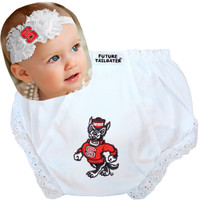 NC State Wolfpack Baby Eyelet Diaper Cover and Shabby Bow Headband