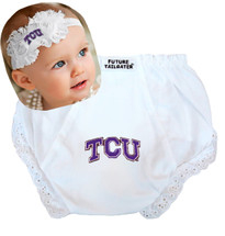 Texas Christian TCU Horned Frogs Baby Eyelet Diaper Cover and Shabby Flower Headband