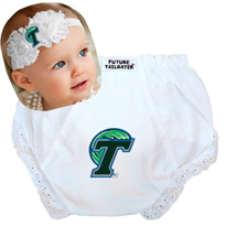 Tulane Green Wave Baby Eyelet Diaper Cover and Shabby Bow Headband