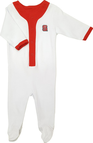 NC State Wolfpack Baby Long Sleeve Baseball Style Playsuit