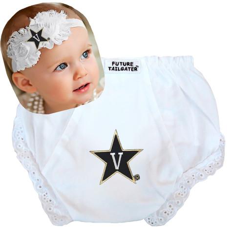 Vanderbilt Commodores Baby Eyelet Diaper Cover and Shabby Bow Headband