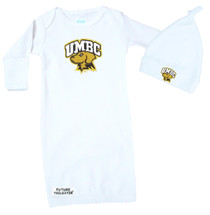 UMBC Retrievers Layette Gown and Knotted Cap Baby Gift Set