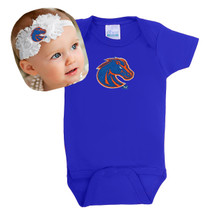 Boise State Broncos Baby Bodysuit and Shabby Flower Headband Set