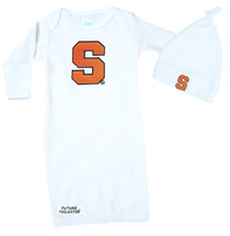Syracuse Orange Baby Layette Gown and Knotted Cap Set