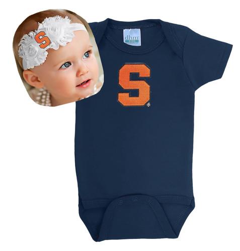Syracuse Orange Baby Onesie and Shabby Bow Headband