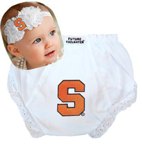 Syracuse Orange Baby Eyelet Diaper Cover and Shabby Bow Headband