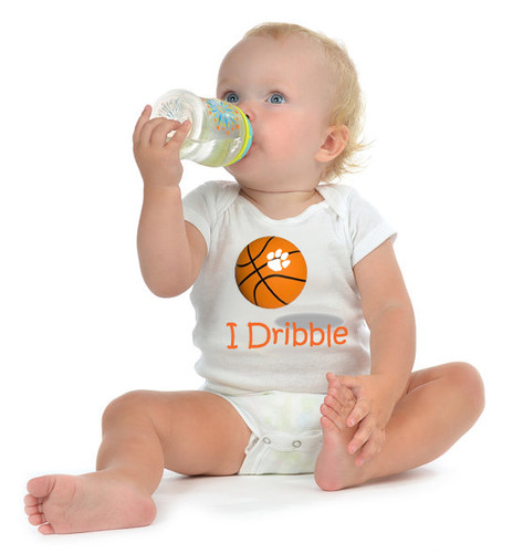 "Clemson Tigers Basketball ""I Dribble"" Baby Onesie"