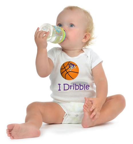 "East Carolina Pirates Basketball ""I Dribble"" Baby Onesie"