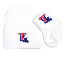 Louisiana Tech Newborn Baby Knit Cap and Socks Set