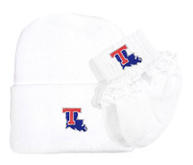Louisiana Tech Newborn Baby Knit Cap and Socks with Lace Set
