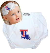 Louisiana Tech Baby Eyelet Diaper Cover and Shabby Flower Headband