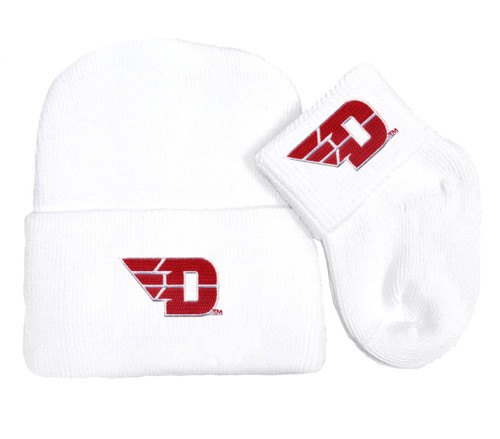 Dayton Flyers Newborn Baby Knit Cap and Socks Set