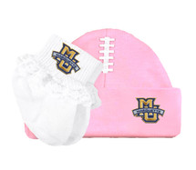Marquette Golden Eagles Football Cap and Socks with Lace Baby Set