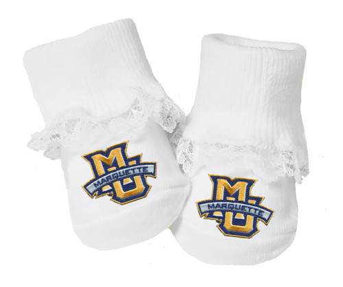 Marquette Golden Eagles Baby Toe Booties with Lace