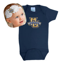 Marquette Golden Eagles Baby Bodysuit and Shabby Bow Headband