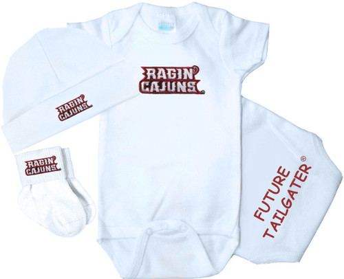 Louisiana Ragin Cajuns Homecoming 3 Piece Baby Gift Set