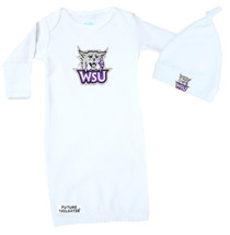 Weber State Wildcats Baby Layette Gown and Knotted Cap Set