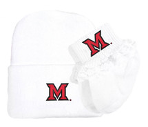 Miami RedHawks Newborn Knit Cap and Socks with Lace Baby Set