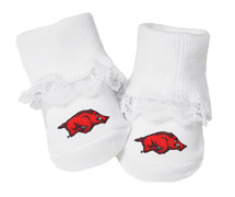 Arkansas Razorbacks Baby Toe Booties with Lace