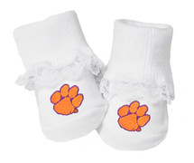 Clemson Tigers Baby Toe Booties with Lace