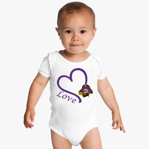 East Carolina Pirates Love Baby Onesie