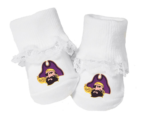 olina Pirates Baby Toe Booties with Lace