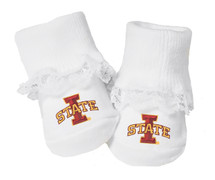 Iowa State Cyclones Baby Toe Booties with Lace