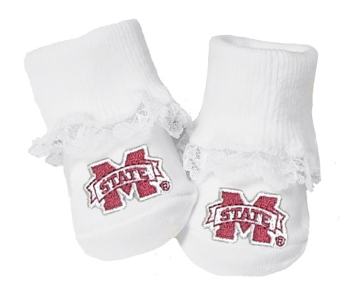 Mississippi State Bulldogs Baby Toe Booties with Lace