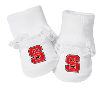 NC State Wolfpack Baby Toe Booties with Lace