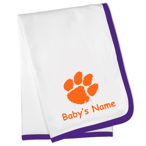 Clemson Tigers Personalized Baby Blanket - Purple Trim