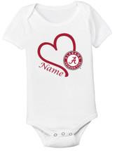 d58a2f4989d Alabama Crimson Tide Personalized Heart Baby Bodysuit