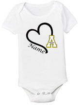 Appalachian State Mountaineers Personalized Heart Baby Bodysuit