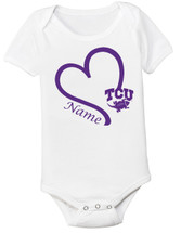 Texas Christian TCU Horned Frogs Personalized Heart Baby Bodysuit