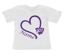 Texas Christian TCU Horned Frogs Personalized Heart Baby/Toddler T-Shirt