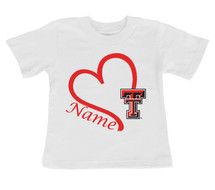Texas Tech Red Raiders Personalized Heart Baby/Toddler T-Shirt