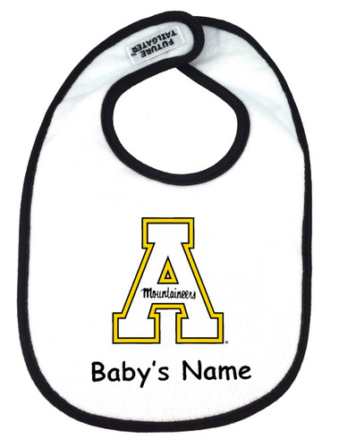 Appalachian State Mountaineers Personalized 2 Ply Baby Bib