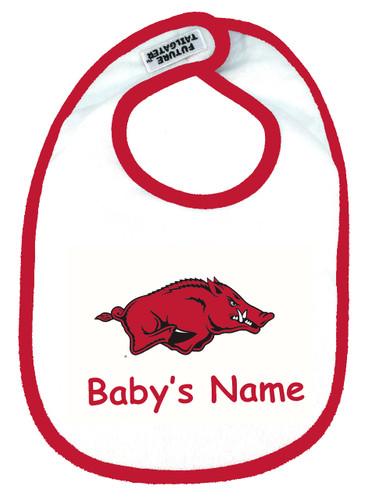 Arkansas Razorbacks Personalized 2 Ply Baby Bib