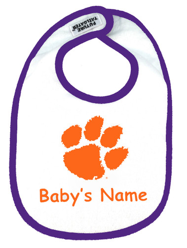 Clemson Tigers Personalized 2 Ply Baby Bib