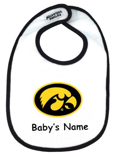 Iowa Hawkeyes Personalized 2 Ply Baby Bib