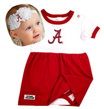Alabama Crimson Tide Baby Bodysuit Dress and Shabby Bow Headband