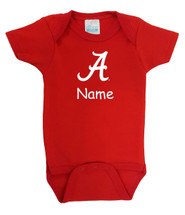 Alabama Crimson Tide Personalized Team Color Baby Bodysuit