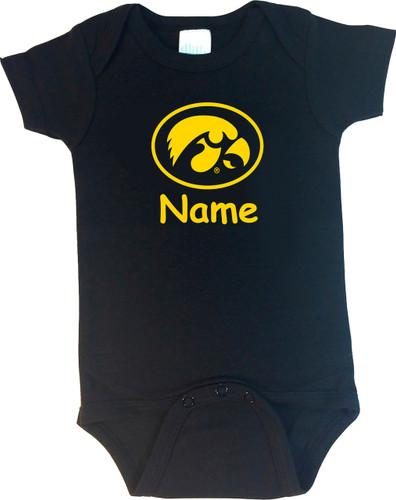 Iowa Hawkeyes Personalized Team Color Baby Onesie