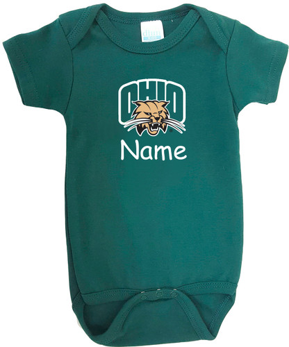 Ohio Bobcats Personalized Team Color Baby Onesie