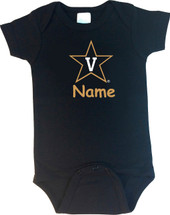 Vanderbilt Commodores Personalized Team Color Baby Bodysuit