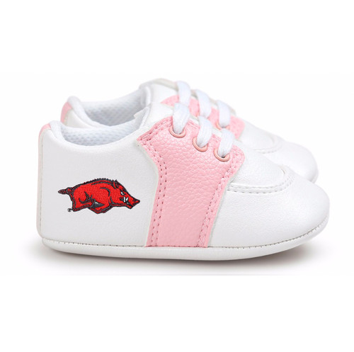 Arkansas Razorbacks Pre-Walker Baby Shoes - Pink Trim