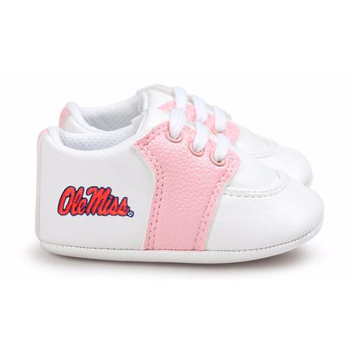 Mississippi Ole Miss Rebels Pre-Walker Baby Shoes - Pink Trim