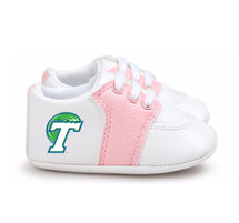 Tulane Green Wave Pre-Walker Baby Shoes - Pink Trim