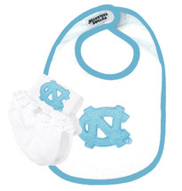 North Carolina Tar Heels Baby Bib and Socks with Lace Set