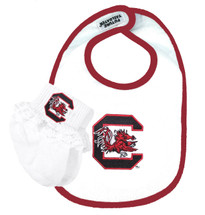 South Carolina Gamecocks Baby Bib and Socks with Lace Set